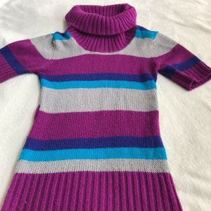 Knitted Striped Girls Long Short Sleeve Sweater